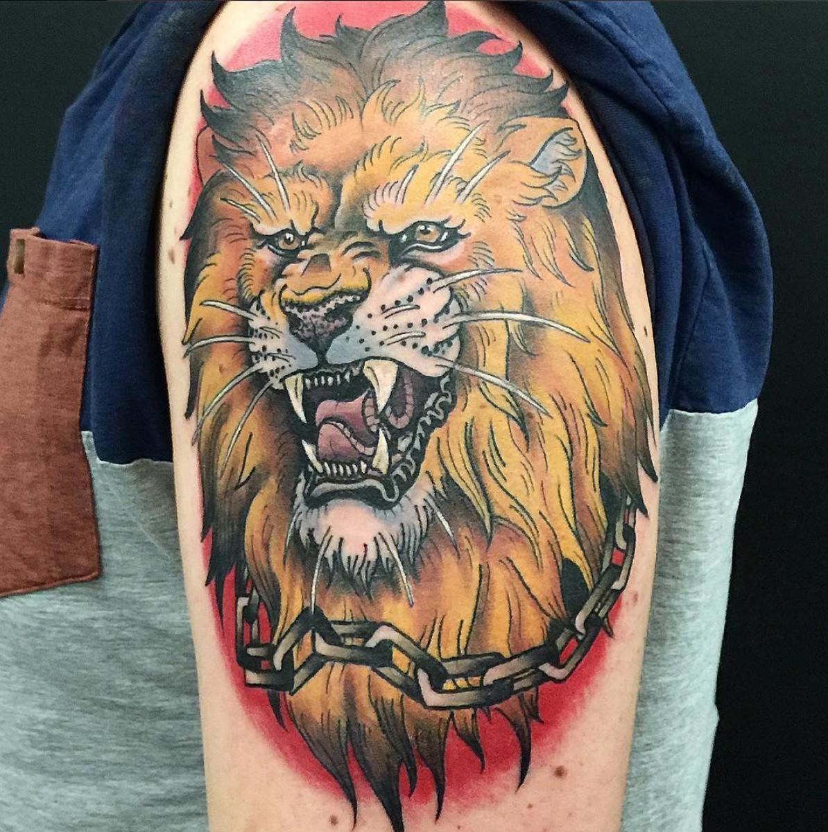 My first tattoo Lion Head by Bernhard Mitteregger Vienna