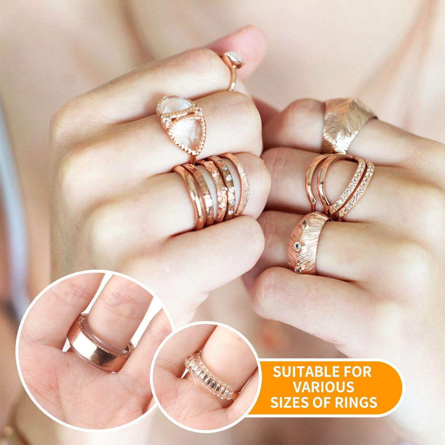 20 Pack Invisible Ring Size Adjuster for Loose Rings a