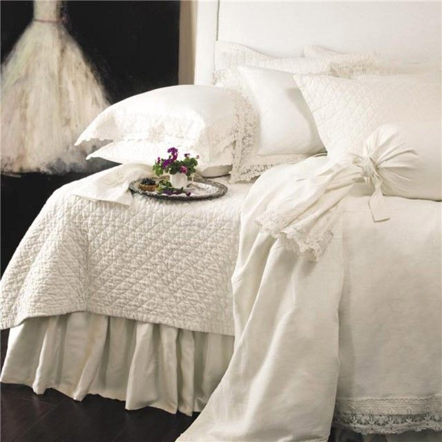 Lili Alessandra Theresa Linen & Lace White Duvet Cover or Set LALD226W