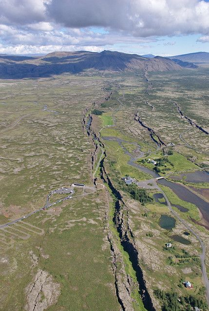 Thingvellir in Iceland, where the North American and Eurasian Tectonic Plates are moving apart.