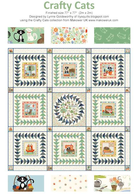 FREE Makower Crafty Cats Pattern Download | Quilting | Pinterest ... : free cat quilt patterns download - Adamdwight.com