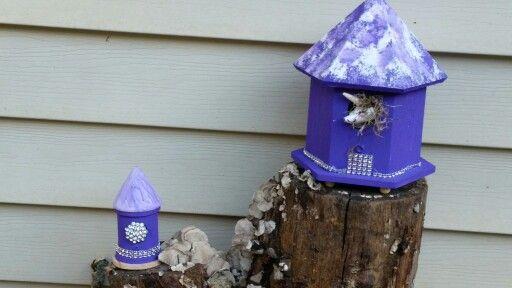 Fairy Village Scene Sea Shell with Birds Nest