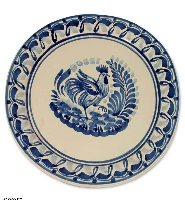 Blue Mexican Majolica Ceramic Rooster Decorative Plate  sc 1 st  Pinterest & Blue Mexican Majolica Ceramic Rooster Decorative Plate   Mexicans