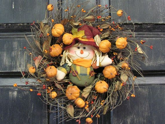 Scarecrow Pumpkin Wreath - Fall Home Decor - Primitive Berry Wreath - Pantry Door Wreath - Thanksgiving - Primitive Country - Fall Wreath
