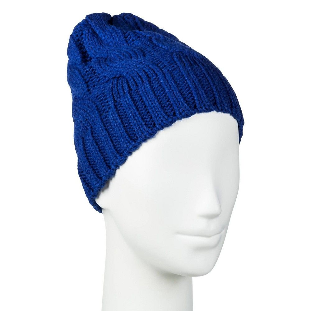 Women S Cable Knit Beanie One Size Merona Blue Knit Beanie Cable Knit Knitting