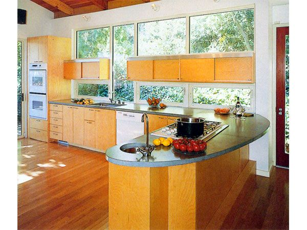 sweep curve cooking peninsula with window backsplash by architect lindy small home decor on kitchen interior with window id=25480