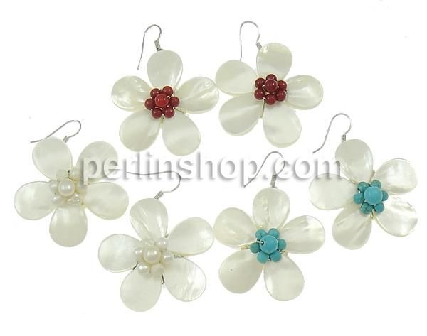 Weiße Muschel Tropfen Ohrring, mit gemischte Materialien, Blume ...