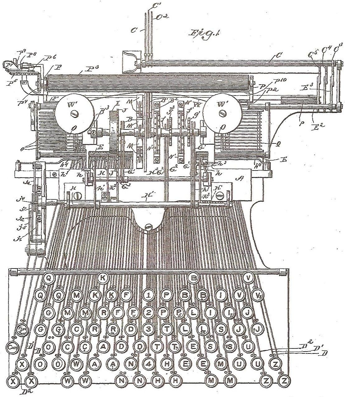 Typewriter Diagram Infinite Images Pinterest Drawings Patent Oliver 1850 Wiring Free Download Schematic George Morris Drawing Typewriters Inventions Days In