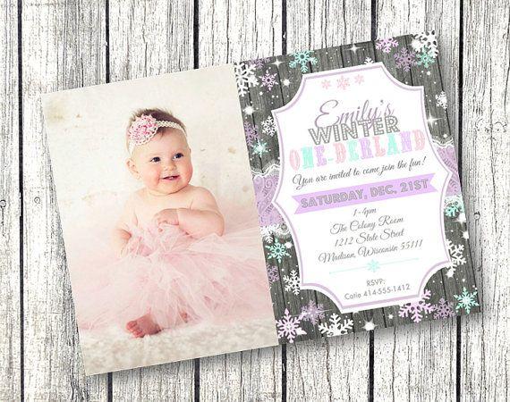 Winter One Derland Birthday Photo Invitation 1st By Pinkpoproxx
