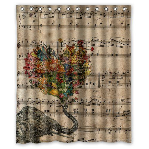 Generic Personalized Music Note And Elephant With Colorful Paisley