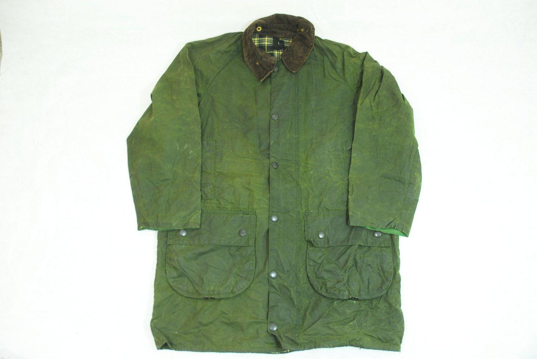 Vintage 80's Two Crest Green Wax Cotton Country Rain Coat Jacket by Barbour , Original Gamefair 38