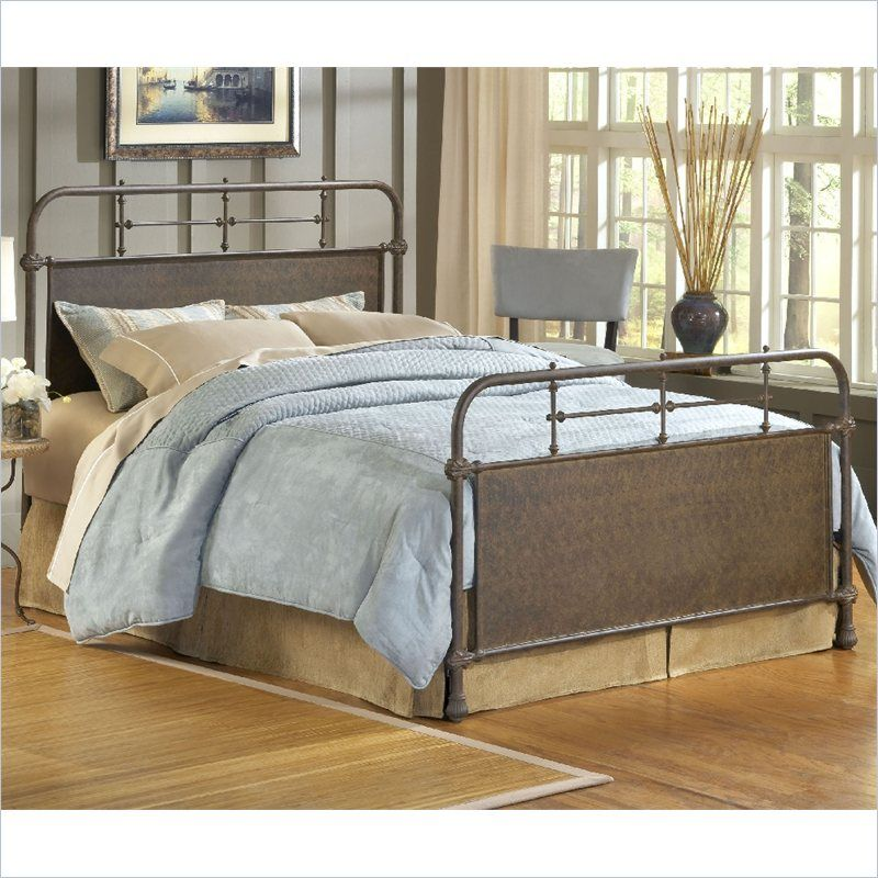 hillsdale kensington metal bed in old rust with frame 649