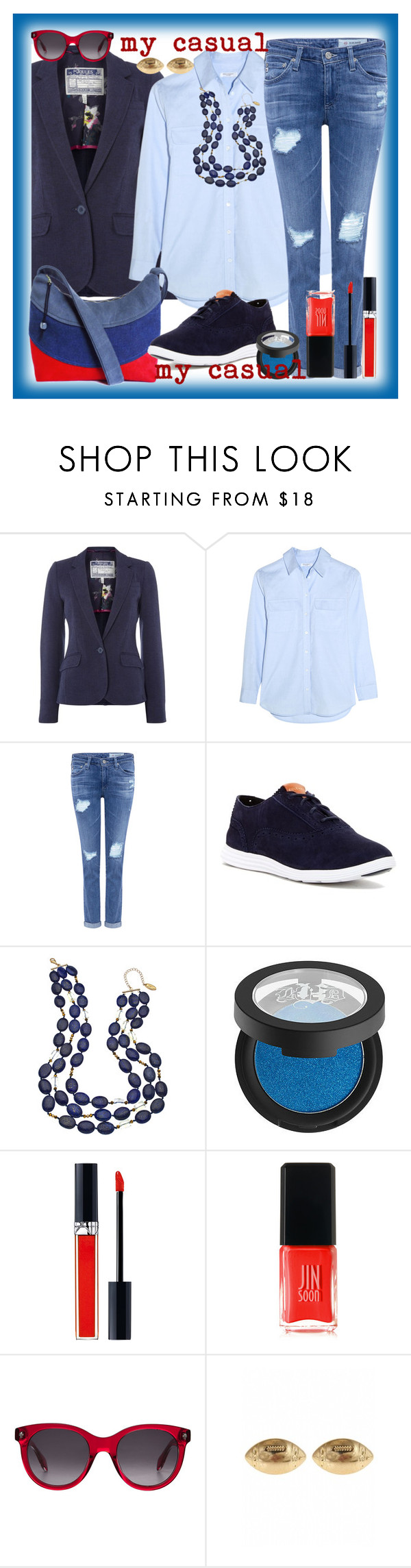 """My casual"" by amisha73 ❤ liked on Polyvore featuring Joules, Equipment, AG Adriano Goldschmied, Cole Haan, Gottex, Kat Von D, Christian Dior, JINsoon, Alexander McQueen and Fornash"