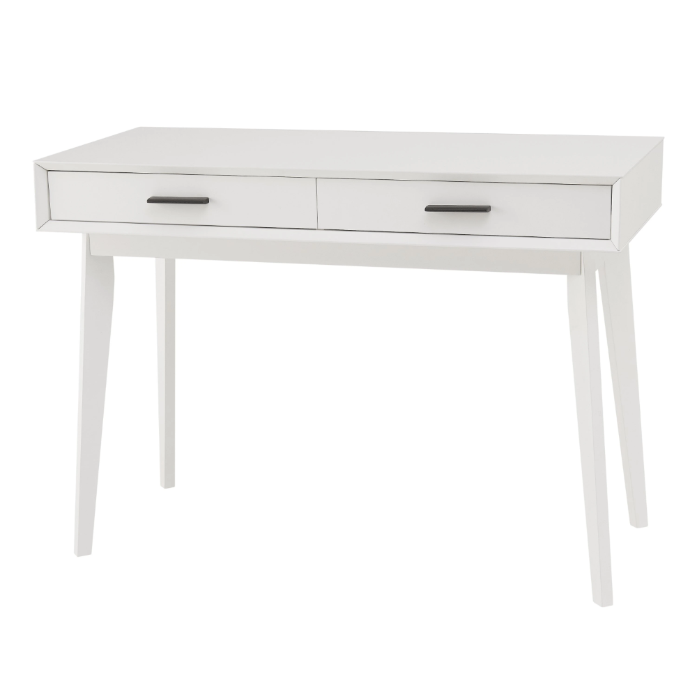 Mainstays Reeve Mid Century 2 Drawer Writing Desk White Finish In 2020 Desk Writing Desk White Finish
