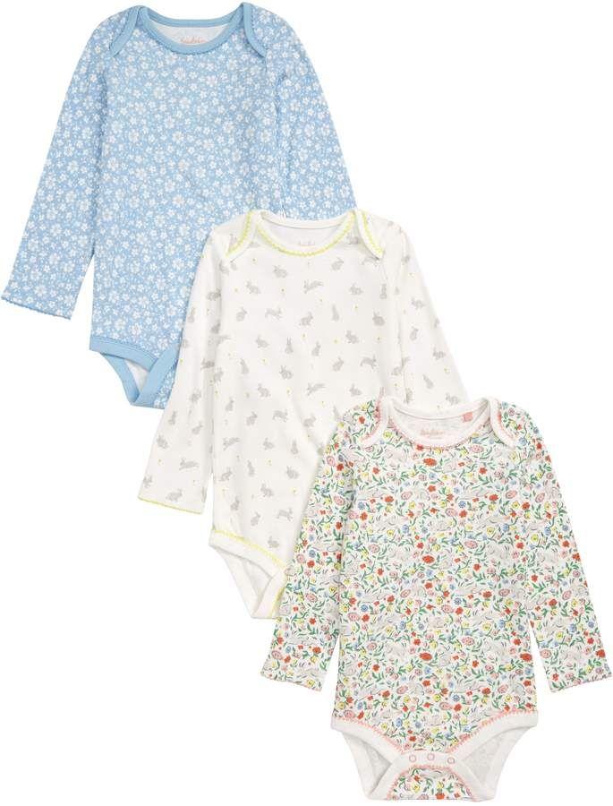f4ce464b1f2 Boden Mini Bunnies 3-Pack Organic Cotton Bodysuits