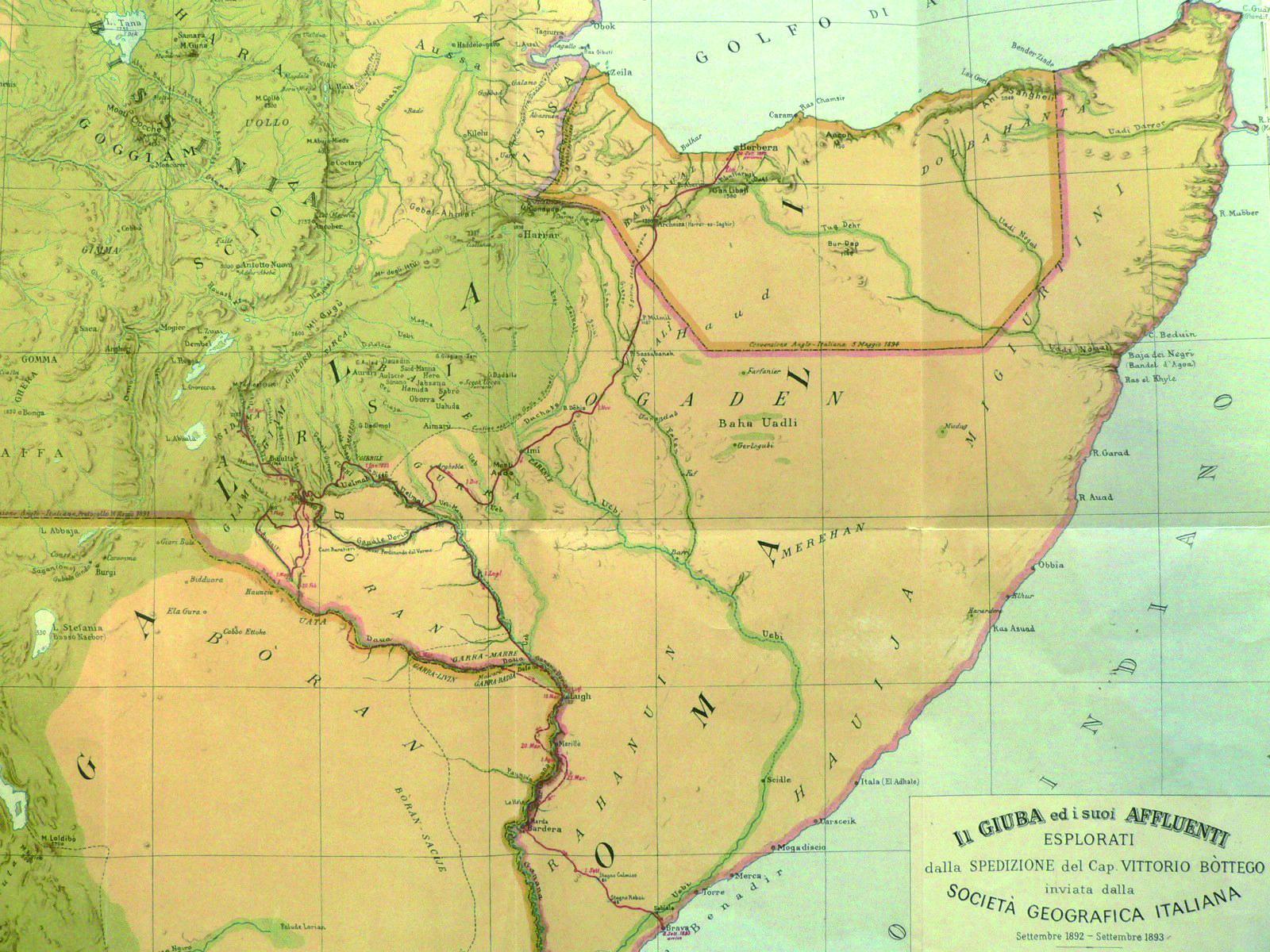 Russia Northern Eurasia Map Quiz%0A Mappa della Societ   geografica italiana con l u    itinerario della spedizione  in Somalia di Vittorio Bottego
