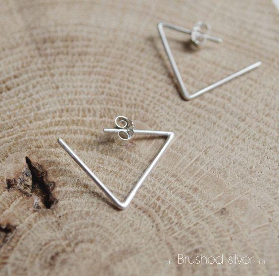 Triangle hoop earrings // geometric triangle line // black ...