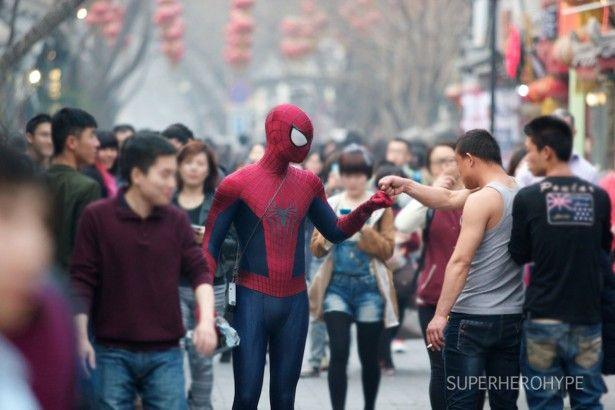 Spider-Man is seen in Beijing and Sydney, sunning ?