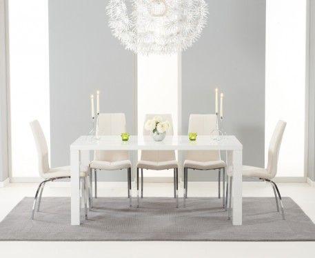 Atlanta 160cm White High Gloss Dining Table with Cavello Chairs  sc 1 st  Pinterest & Atlanta 160cm White High Gloss Dining Table with Cavello Chairs ...