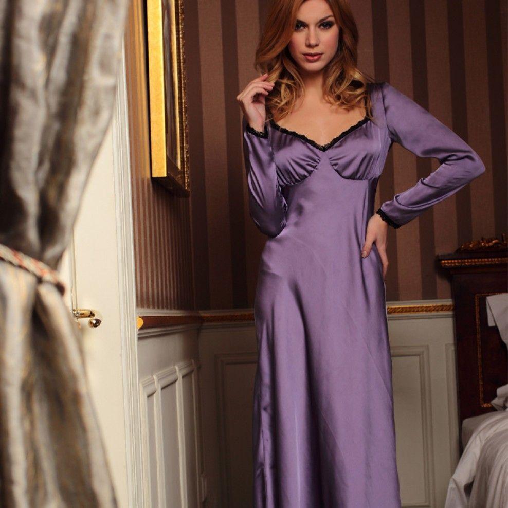 Women\'s Satin Purple Long Sleeve Ruffled Bra Maxi Nightgown   ank ...