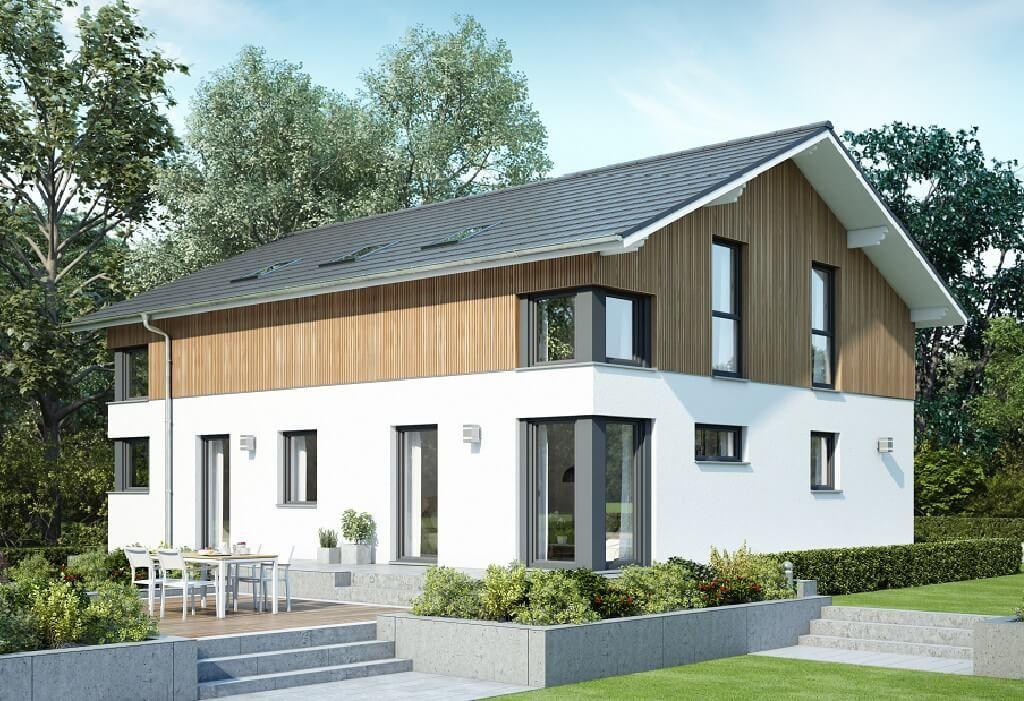 zweifamilienhaus im modernen alpenstil haus evolution 207 v7 bien zenker fertighaus bauen. Black Bedroom Furniture Sets. Home Design Ideas
