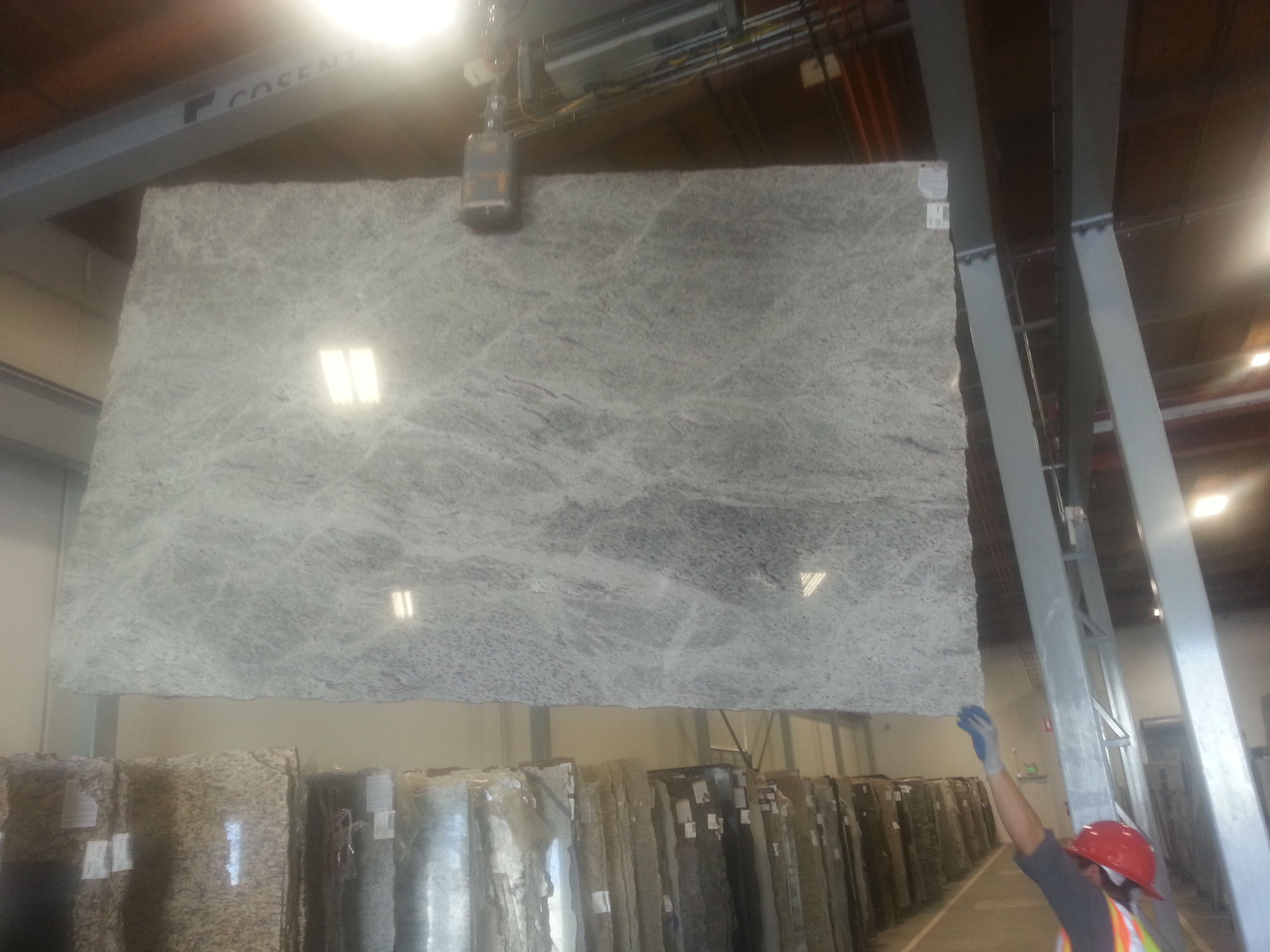 Our New Sensa Silver Silk Granite Slab To Make Our Kitchen