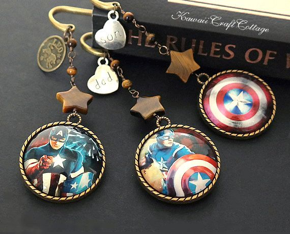 Super Hero Bookmark Captain America Comics Book Accessory Dad Son Zodiac Birthday Independent Day Him Guy Male Gift Gifts Reader Readers Red