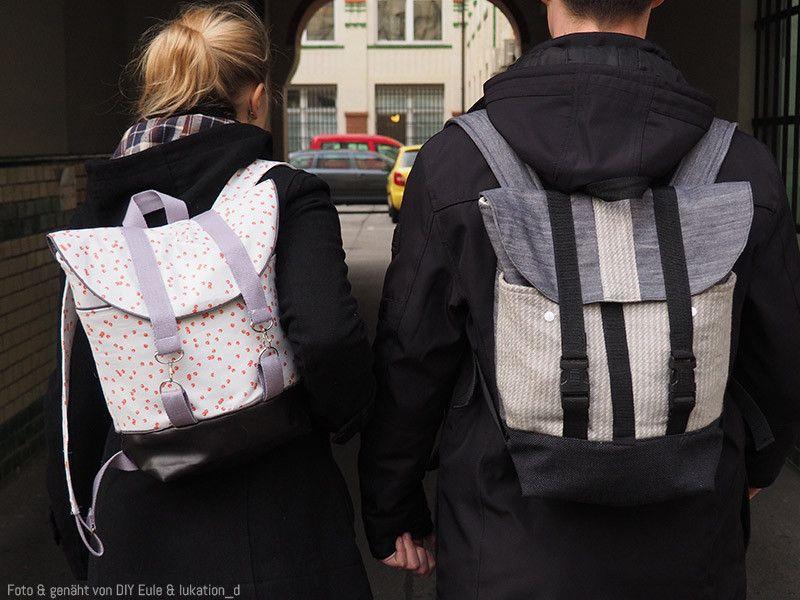 """Rucksack """"Pakke"""" kann in vielen verschiedenen Varianten genäht werden: Neben zwei unterschiedlichen Klappenformen kannst du verschiedene Außen- und Innenfächer anbringen, aus unterschiedlichen..."""