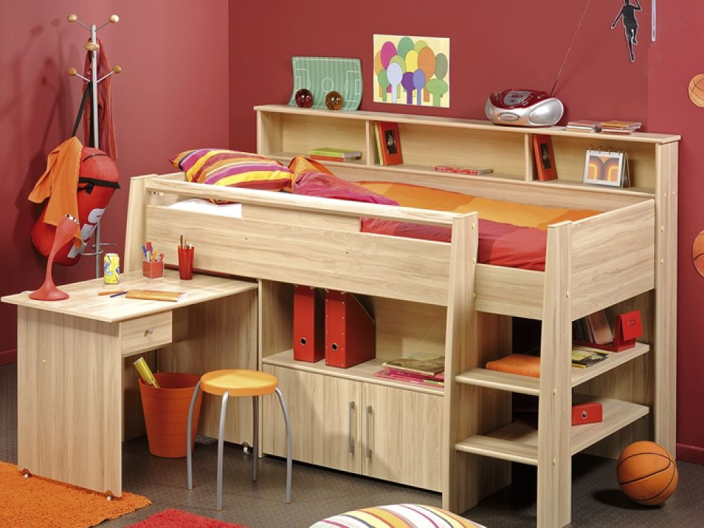 kurt oak mid sleeper with storage pull out desk kids cabin beds from fads