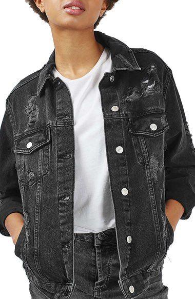 Topshop Moto Ripped Oversize Denim Jacket Available At Nordstrom Denim Jacket Women Denim Jacket Oversized Denim Jacket