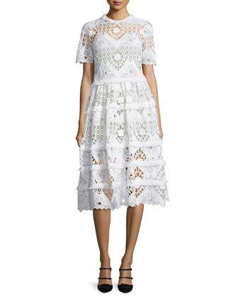 b31503461c92 Benati Crochet Short-Sleeve Midi Dress, White by Alexis at Neiman Marcus.