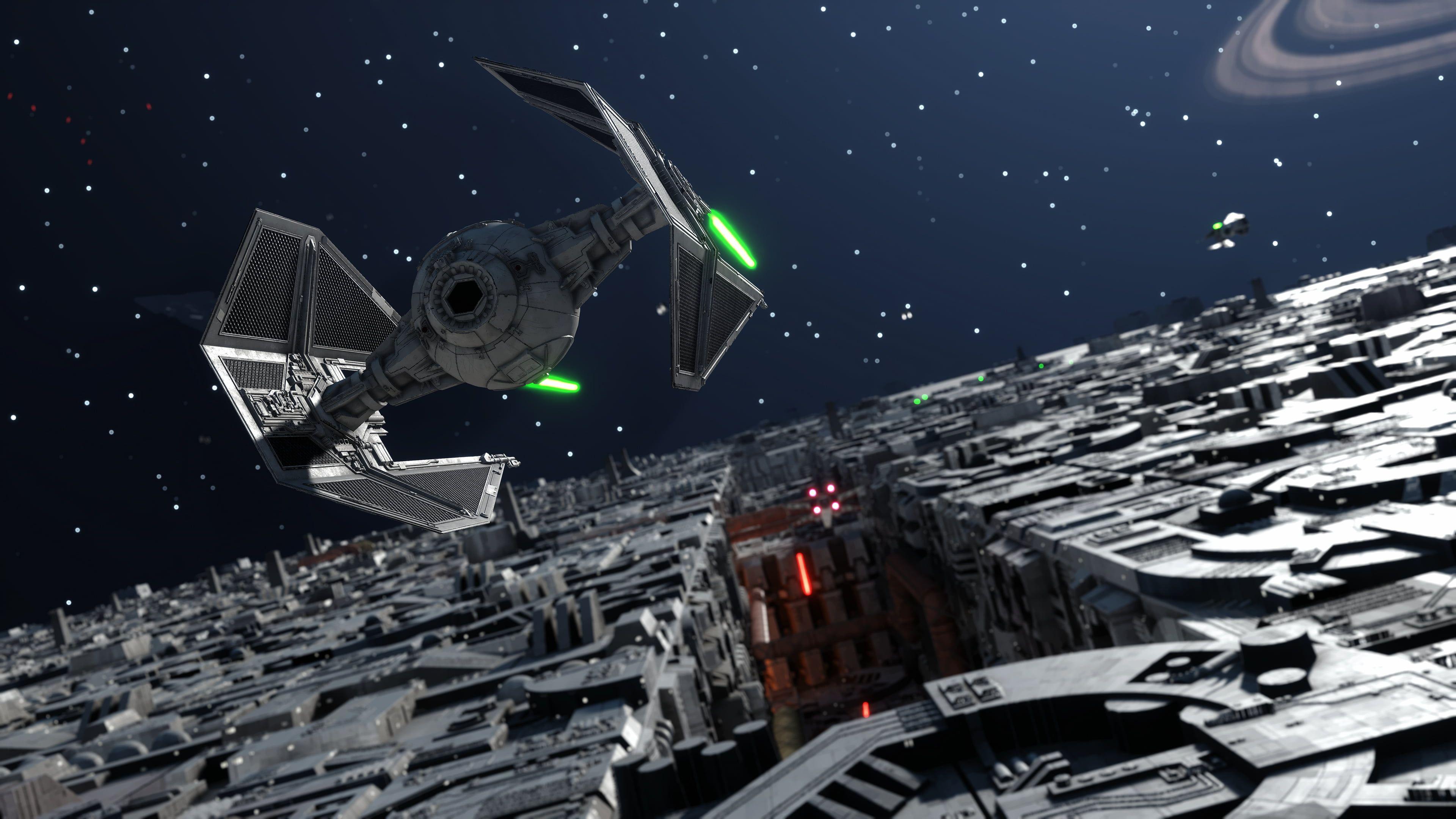 Star Wars Tie Fighter Star Wars Battlefront Star Wars Tie Interceptor Death Star Video Games 4k Wallpape Star Wars Death Star Wallpaper Star Wars Spaceships