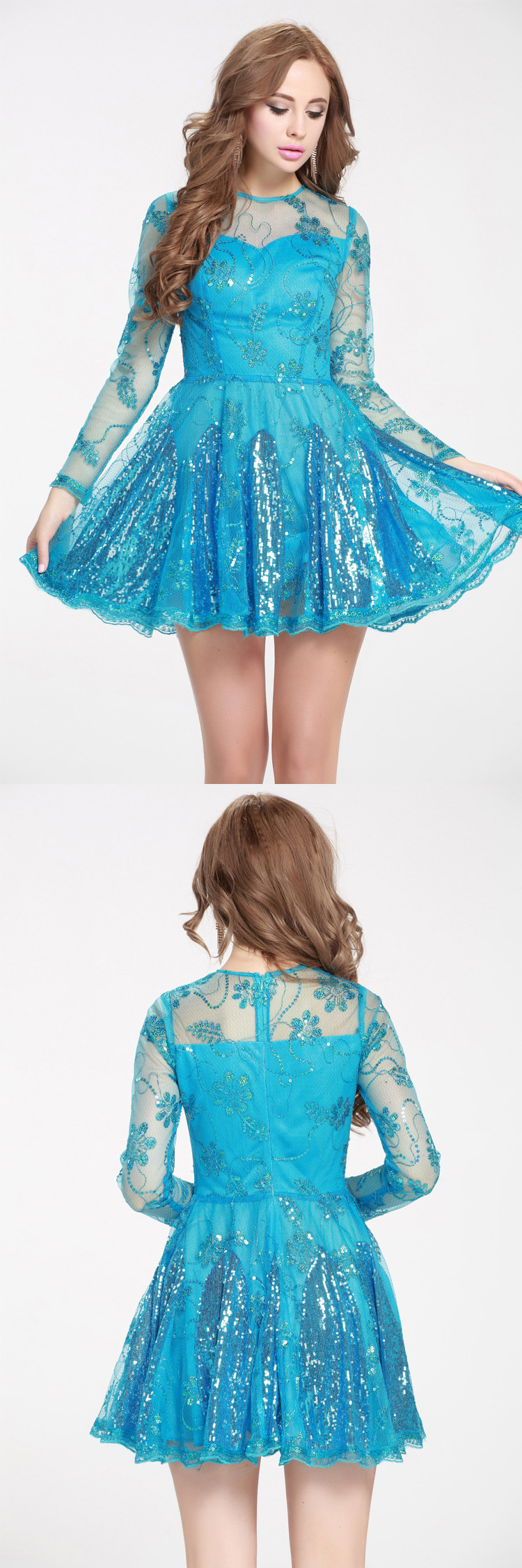Blue sequined embroidery fit and flare short dress dk