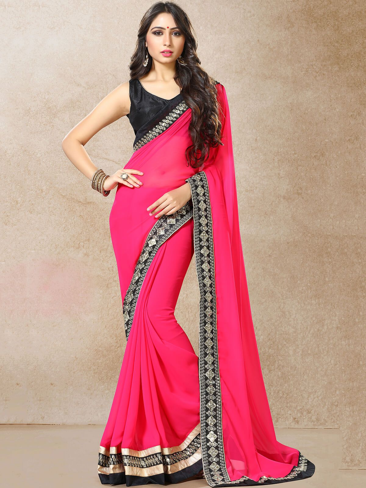 0302146de0 Mesmerizing pink and black ceremonial wear faux georgette designer saree.  Having fabric faux georgette and