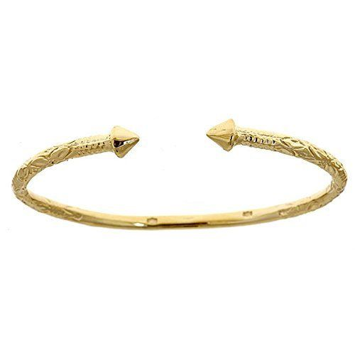 10k Yellow Gold West Indian Bangle W Pyramid By Betterjewelry