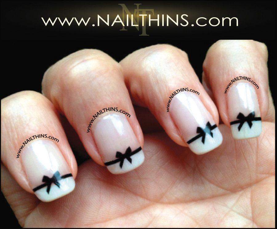 Black Bows Nail Decal NAILTHINS Nail Design | Bow nail art, Nail ...