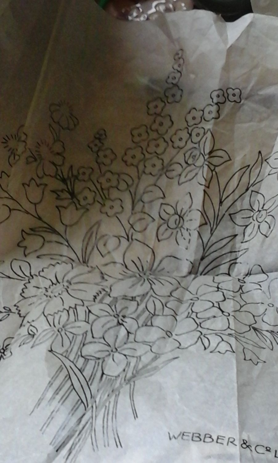 Vintage flower bouquet embroidery transfer by haberdashery havenut