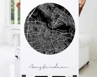AMSTERDAM Map Print Modern City Poster Black and door PFposters