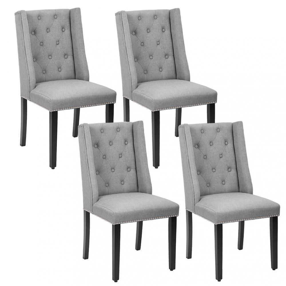 Set Of 4 Grey Elegant Dining Side Chairs Button Tufted Fabric W Nailhead 54b Side Chairs Dining Cheap Living Room Sets Gray Dining Chairs