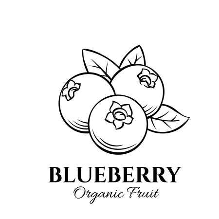 Hand drawn blueberry icon. Vector badge fruit in the old