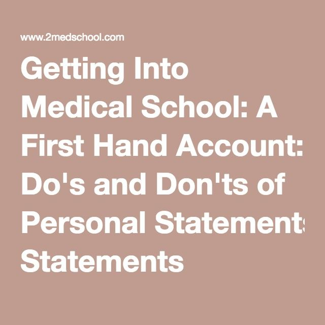 Getting Into Medical School A First Hand Account Dou0027s and Donu0027ts - personal statement for medical school
