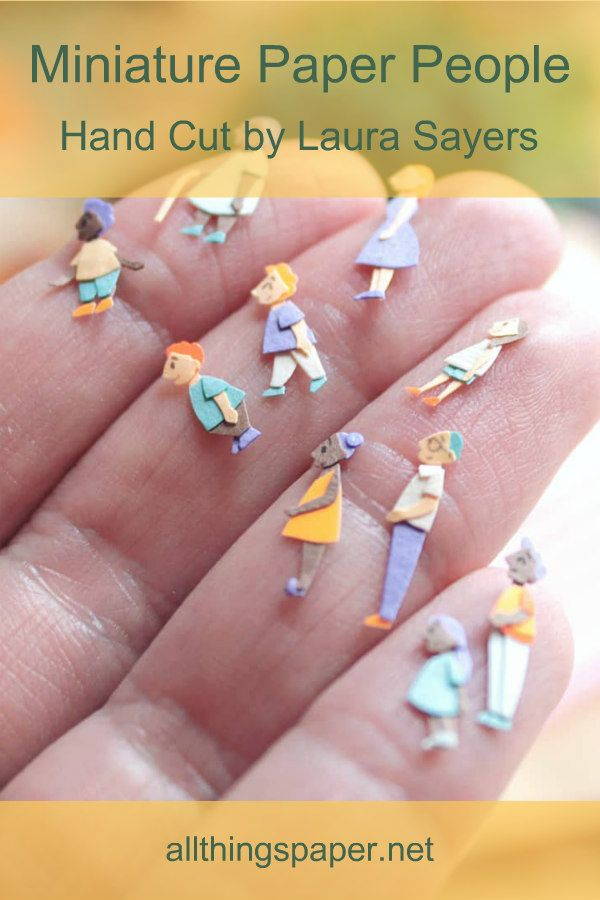 Laura K. Sayers creates, dare I say, the cutest teeny-tiny figures on the planet. Not only are they small, but each one has personality! See more of her paper art at the link. #paperart #miniatures #papercutting