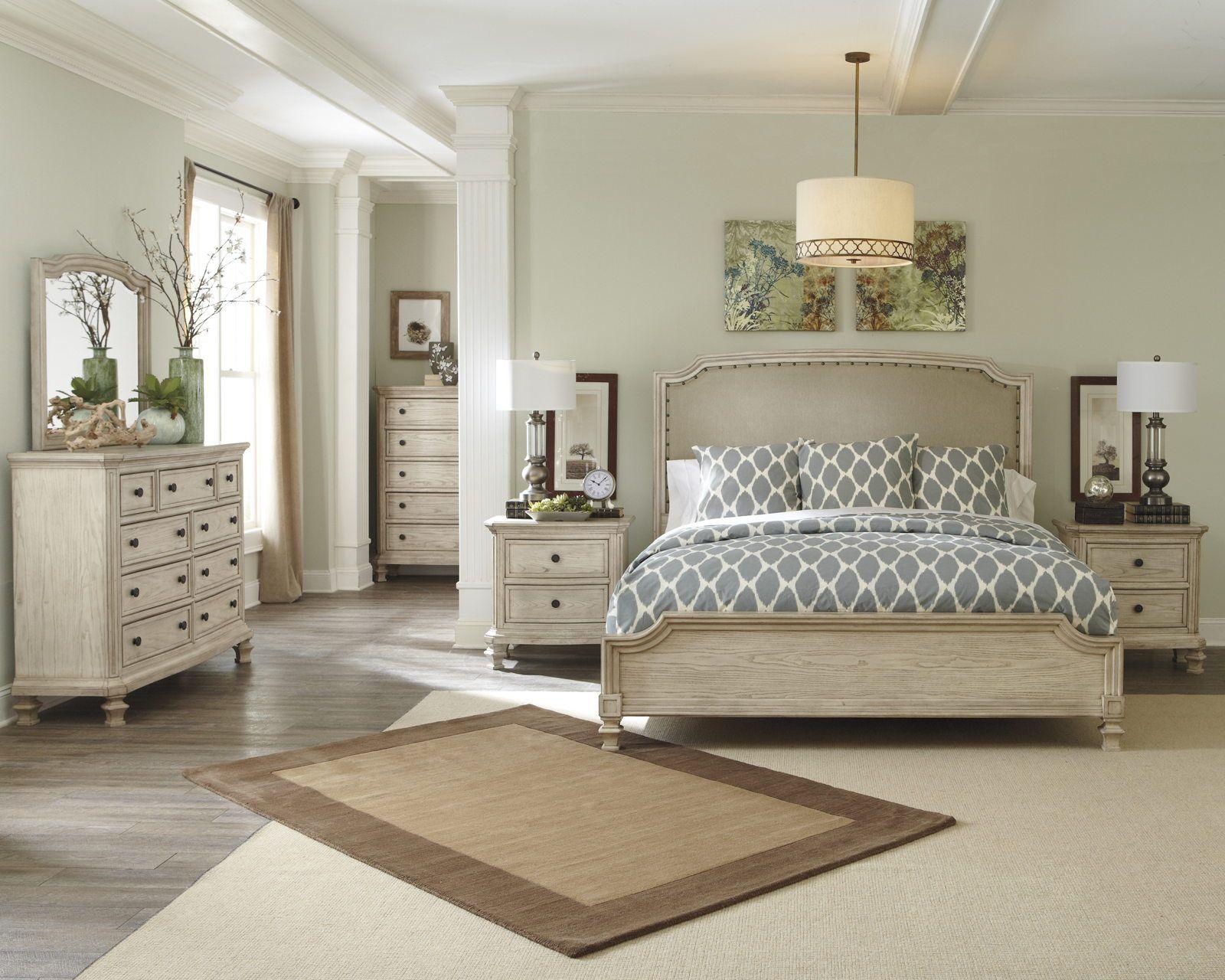 Demarlos 4pc Upholstered Panel Bedroom Set In Parchment White Ashley Bedroom Set Bedroom Panel Bedroom Sets Queen