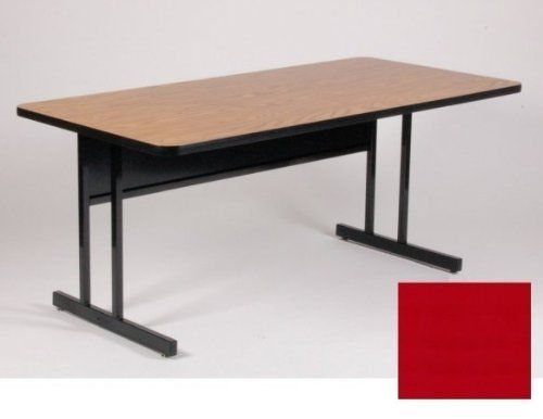 "High Pressure Top 30"" x 60"" Keyboard Height Work Station 26"" in Red Finish By Correll by Correll. $422.00. Keyboard height: 26 inchReal high-pressure top with backer sheet (not fused-on melamine) 1.25 inch thick Top match our high-pressure folding tables and activity tables sold separately Sturdy all steel frames with adjustable nylon glides Steel modesty panel with wire management trough on inside bottom edge Modesty Panel has 1 wire management hole Dimension..."