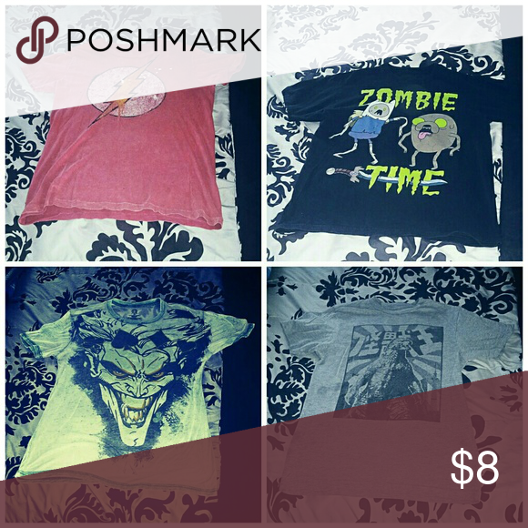 Mens graphic tees All 4 size medium all for  $8 or  $3each DC Comic Shirts Tees - Short Sleeve