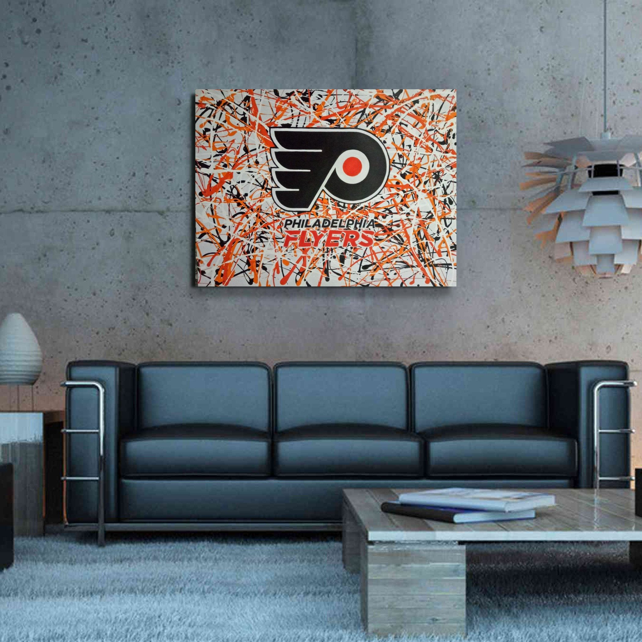 Side Hustle Arts Stylized Philadelphia Flyers Abstract Wall Art Large Hand Painted 30 X 40 Original Abstract Painting Original Abstract Painting Abstract Wall Art Painting