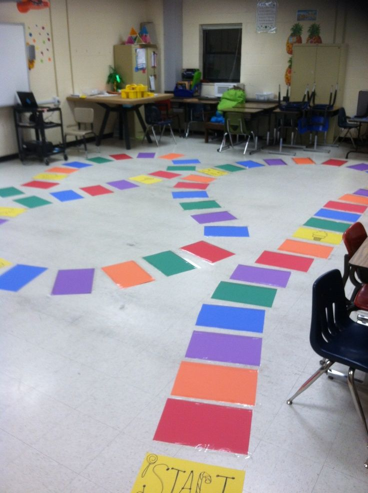 I made a life size Candyland game board for my 5th graders ...