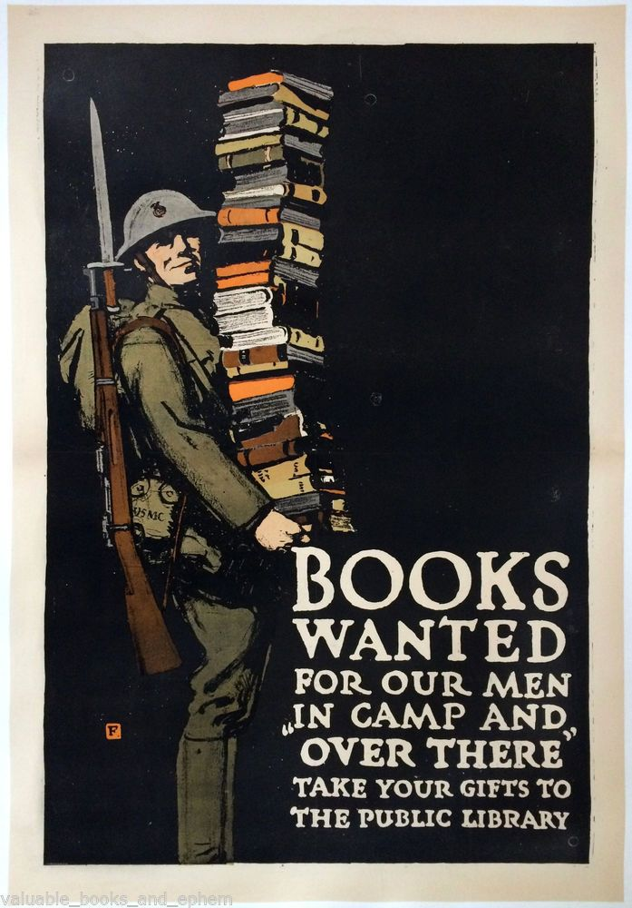 Original WW1 Poster 1918 WWI Books Wanted USA American Homefront War