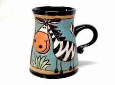 Items similar to Coffee mug, Zebra, Unique coffee mugs, Pottery mug, Handmade on Etsy