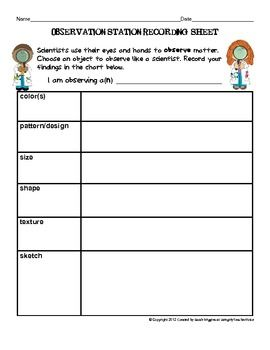 FREE! SCIENCE OBSERVATION STATION RECORDING SHEET ...